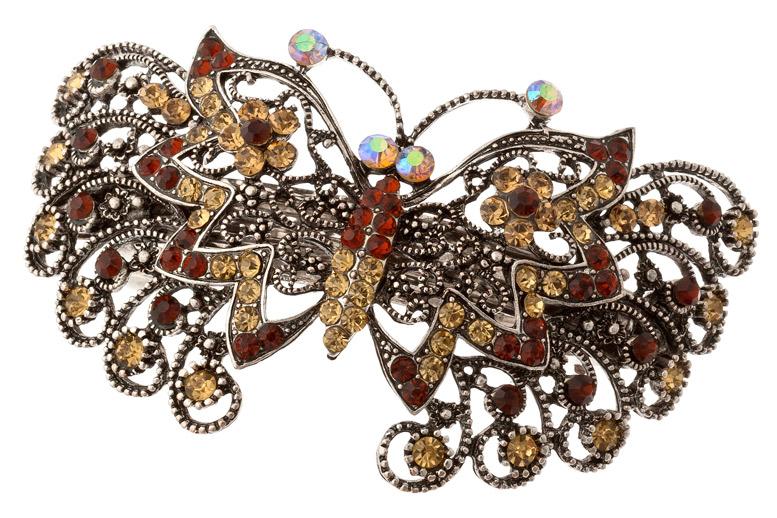 270. Купить красивую коричневую металлическую заколку для волос со стразами в виде бабочки. .